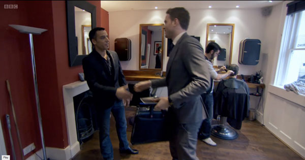 Jason greets Apprentice Tom in the salon
